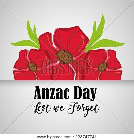 flowers design and anzac day design vector illustration