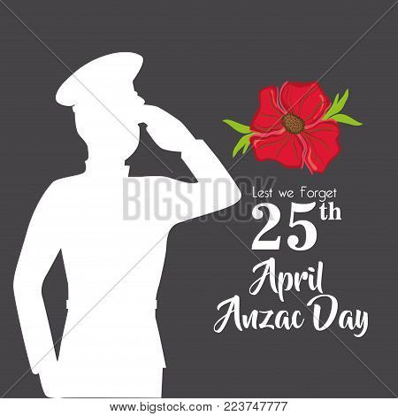 military anzac day memory soldier vector illustration