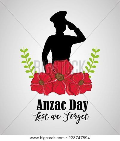 memory soldier to anzac day memory vector illustration