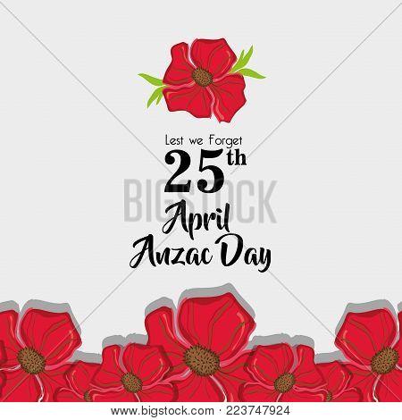 Anzac day memorial to militar war vector illustration