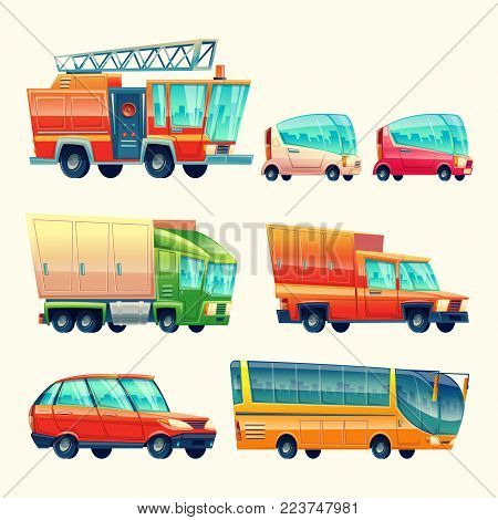 Public passenger transport cars and vehicles vector cartoon icons. Isolated flat colorful fire engine, travel coach and tourist bus and urban minivan, heavy loader truck and car or wagon van