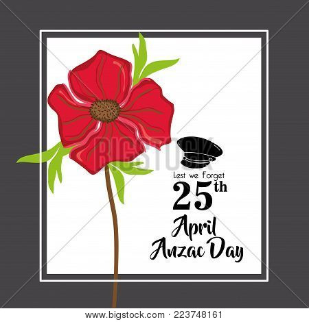 hat soldier to remembrance anzac day vector illustration