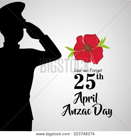 soldier with hat to anzac day memory vector illustration