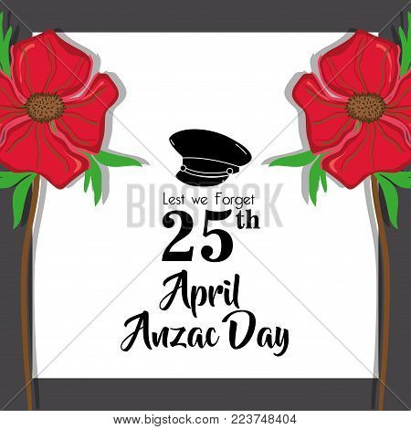 hat soldier remembrance to anzac day vector illustration