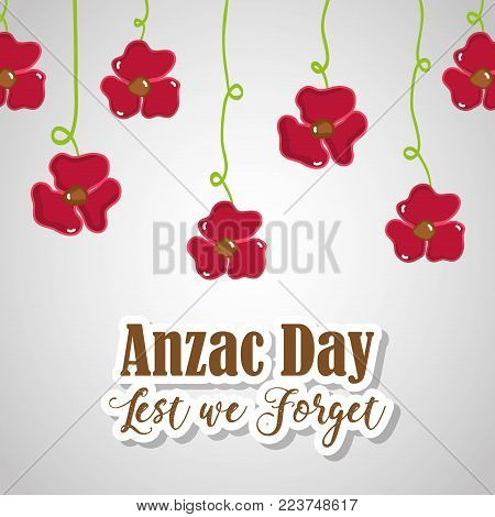 flowers hanging to anzac holiday memorial vector illustration