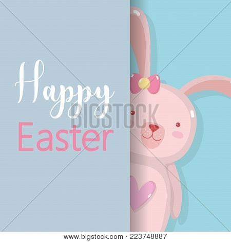 rabbit famale to happy easter holiday vector illustation