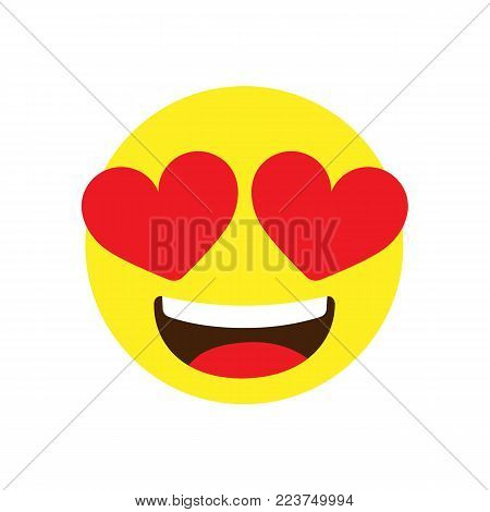 Emoji in love. Happy emoji face isolated on white background. Vector stock.