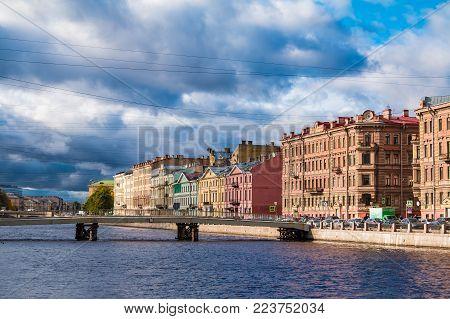 Gorstkin Bridge And Embankment Of Fontanka River, Saint Petersburg, Russia