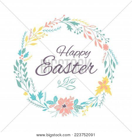 Easter banner background, template with beautiful spring flowers, wreath, leaves and lettering.  Modern postcard or invitation for holliday.