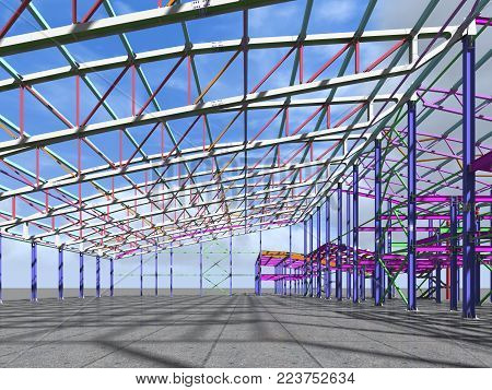 3D rendering. The 3D model of the construction of sports buildings from metal constructions. Engineering, industrial and construction background.