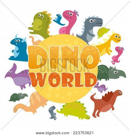 Dinosaurs world poster. Vector cartoon dinosaurs log