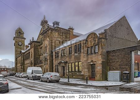 A view of the town hall and former police station in Clydebank, Scotland.