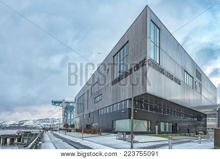CLYDEBANK, SCOTLAND - JANUARY 16, 2018: The newly constructed Clydebank leisure centre on site of the towns old shipyard site.