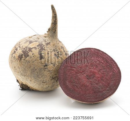 Beetroot (raw red beet) isolated on white background one bulb and cross section half