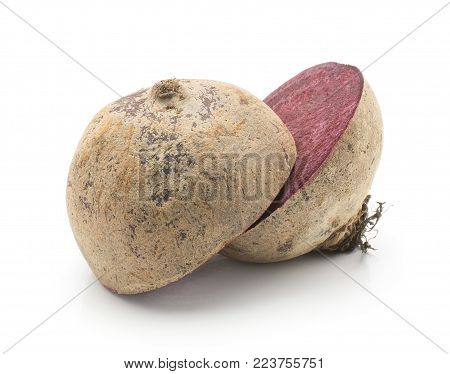 Sliced beetroot (raw red beet) isolated on white background one bulb cut in two halves