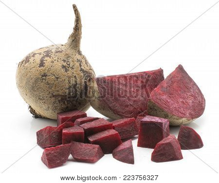 Beetroot (raw red beet) isolated on white background one bulb two slices and chopped pieces set