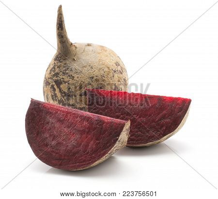 Beetroot (raw red beet) one bulb and two slices isolated on white background