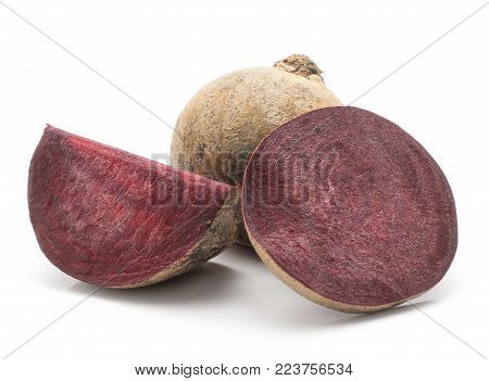 Beetroot (raw red beet) isolated on white background one bulb sliced ring and a slice