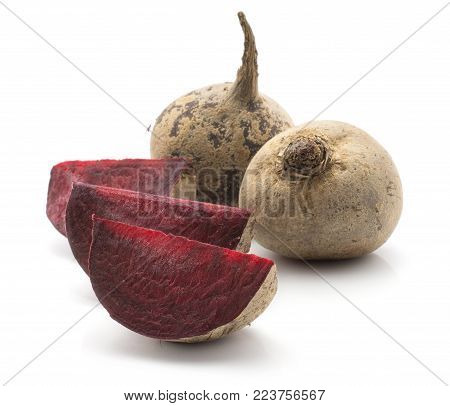 Beetroot (raw red beet) isolated on white background two bulb and three slices