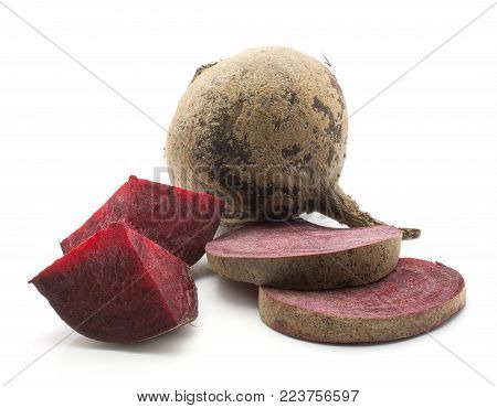 Sliced beetroot set (raw red beet) one bulb two sliced rings two pieces isolated on white background