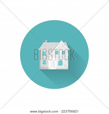 Icon of cozy home, house, cottage, space for text. Spring modern building. Flat design urban landscape.