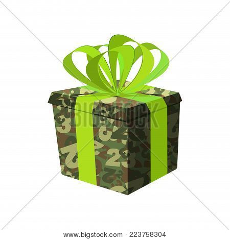 February 23. military gift box. Day of Defender of Fatherland in Russia.