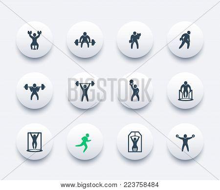 Gym, fitness exercises, workout, training icons set, eps 10 file, easy to edit