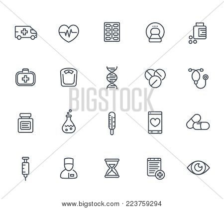 medicine icons set in line style on white, pharmaceutics, ambulance, healthcare, mri scan