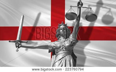 Cover about Law. Statue of god of justice Themis with Flag of England background. Original Statue of Justice. Femida, with scale, symbol of justice with England flag 3d rendering.