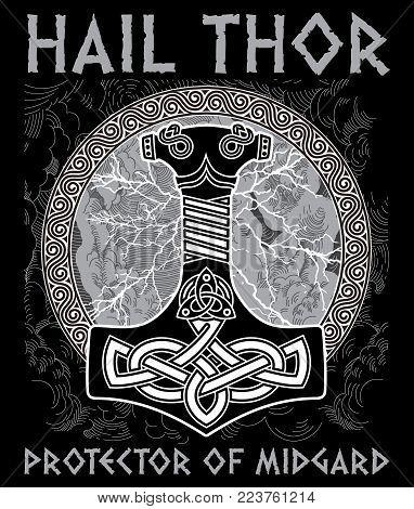 Thor s hammer - Mjollnir. Against the backdrop of the glittering lightning and the Scandinavian ornament, isolated on white, vector illustration