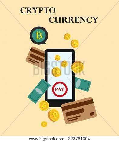 Cryptocurrency coins. Bitcoins and virtual money concept. Flat modern design concept of crypto currency technology. Banner for Cryptocurrency Market, Hosting Company, Mobile banking. Vector illustration.Eps 10