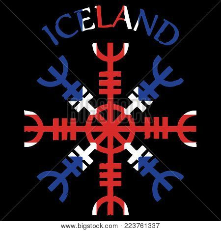 Helm of awe, helm of terror, Icelandic magical staves, Aegishjalmur, with Iceland flag, vector illustration