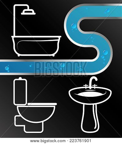 Plumbing and water pipes service illustration vector