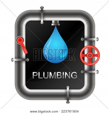 Plumbing with a water pipe symbol for business