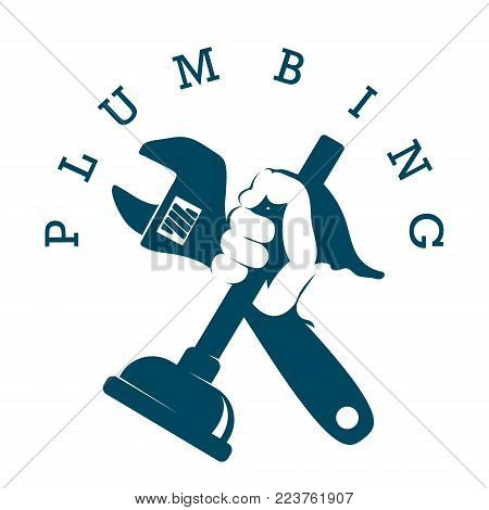 Plunger and a wrench in his hand symbol for plumbers