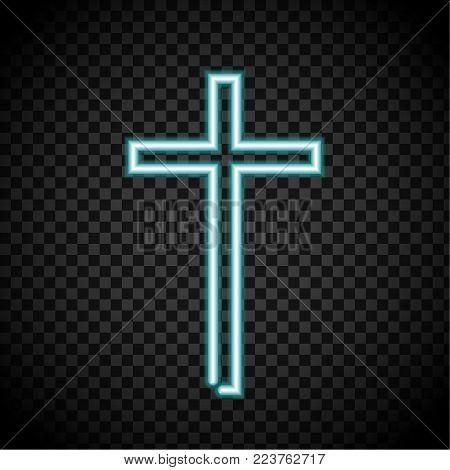 neon cross, glowing cross, religion, Christianity, Jesus crosses on transparent background.