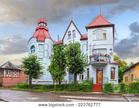 Zelenogradsk, Russia - July 24, 2017: The famous old house with turrets on Moskovsky street. Kaliningrad region.