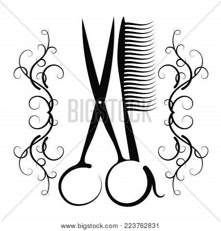 Scissors and hairbrush with an ornament for a hairdresser