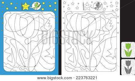Worksheet for practicing fine motor skills - color only fields with dot - finish the illustration of a tulip