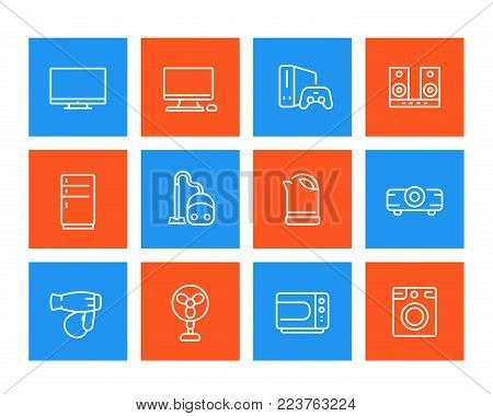 Appliances icons, consumer electronics vector pictograms, linear style