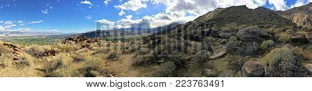 Panoramic shot of desert hiking trails in mountain area of Palm Springs