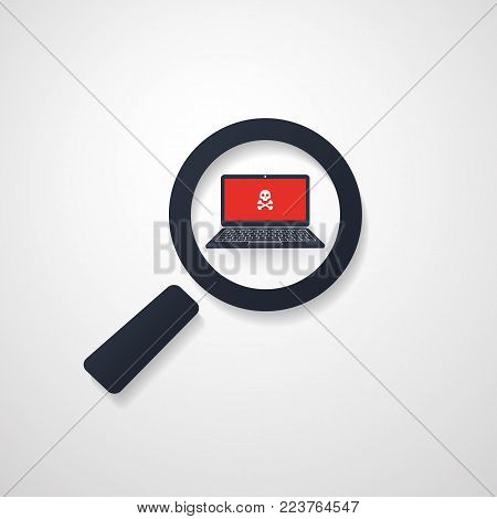 Security Audit, Virus Scanning, Cleaning, Eliminating Malware, Ransomware, Fraud, Spam, Phishing, Email Scam, Hacker Attack Effects and Damage - IT Security Concept Design, Vector illustration
