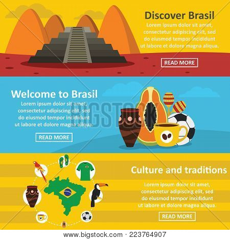 Brasil travel banner horizontal concept set. Flat illustration of 3 brasil travel vector banner horizontal concepts for web