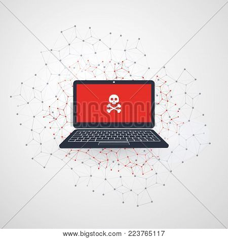 Network Vulnerability - Virus, Malware, Ransomware, Fraud, Spam, Phishing, Email Scam, Hacker Attack - IT Security Concept Design, Vector illustration