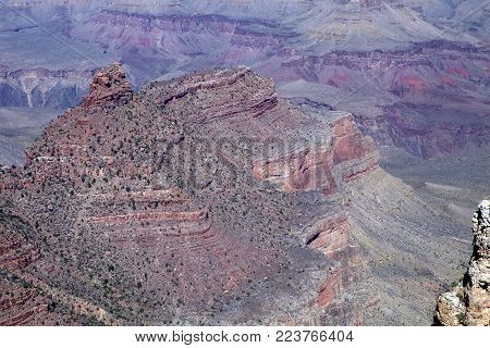 A close up of the rock layers at the Grand Canyon National Park in Arizona