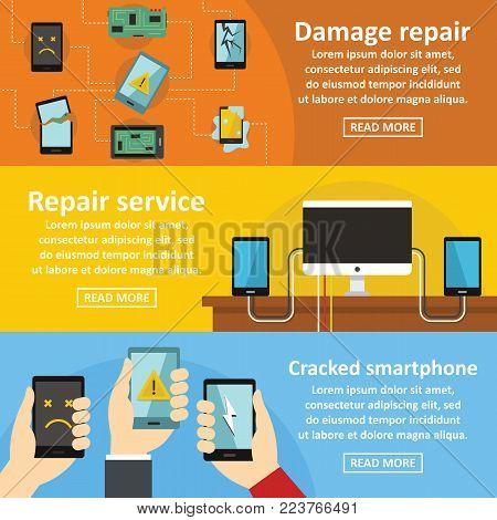 Repair cellphone banner horizontal concept set. Flat illustration of 3 repair cellphone vector banner horizontal concepts for web
