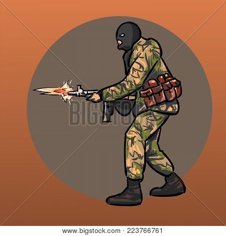 Soldier with gun. Warrior. Special Forces. Illustration