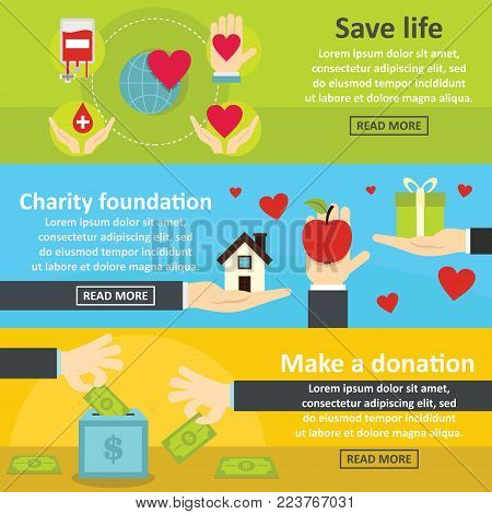 Charity donation banner horizontal concept set. Flat illustration of 3 charity donation vector banner horizontal concepts for web