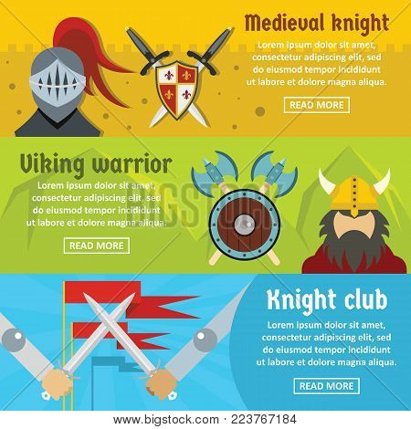 Medieval knight banner horizontal concept set. Flat illustration of 3 medieval knight vector banner horizontal concepts for web