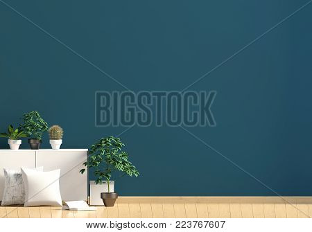 Modern interior with rack, plant and pillow. Wall mock up. 3d illustration